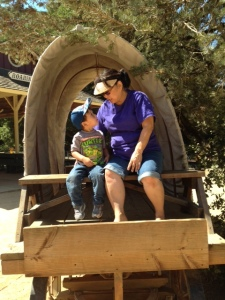 Thomas and Mama on covered Wagon Aug 9 2014