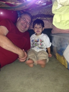 Thomas and Papa smiling in Blanket fort securedownload