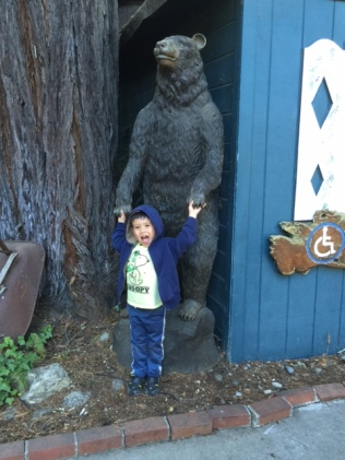 Thomas and Huge Bear Carving IMG_0122